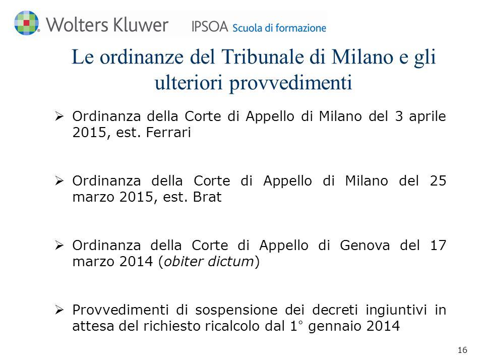 Le ordinanze del Tribunale di Milano e gli ulteriori provvedimenti  Ordinanza della Corte di Appello di Milano del 3 aprile 2015, est.