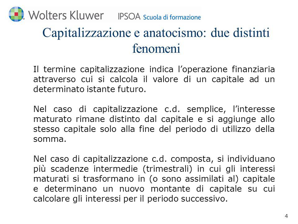 Capitalizzazione e anatocismo: due distinti fenomeni Il termine capitalizzazione indica l'operazione finanziaria attraverso cui si calcola il valore di un capitale ad un determinato istante futuro.