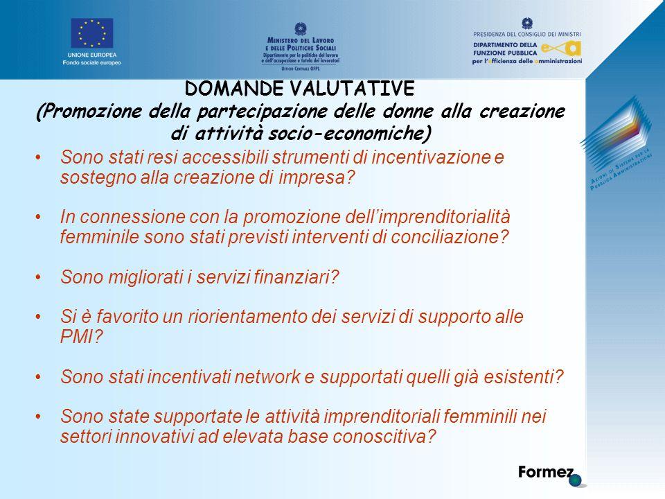 DOMANDE VALUTATIVE (Promozione della partecipazione delle donne alla creazione di attività socio-economiche) Sono stati resi accessibili strumenti di incentivazione e sostegno alla creazione di impresa.
