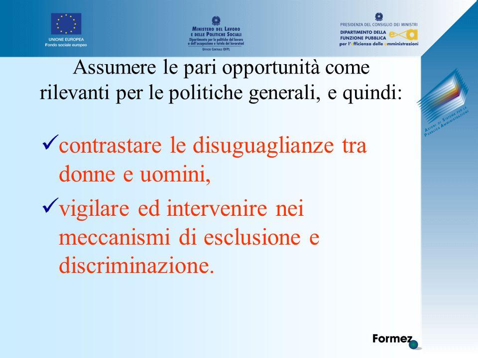 Assumere le pari opportunità come rilevanti per le politiche generali, e quindi: contrastare le disuguaglianze tra donne e uomini, vigilare ed intervenire nei meccanismi di esclusione e discriminazione.