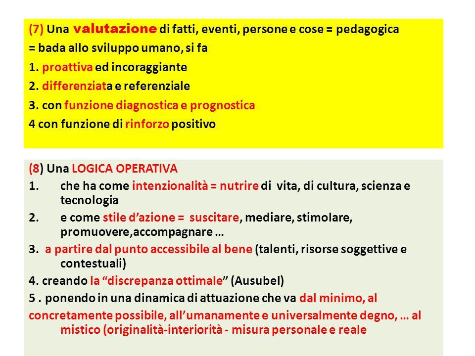 (8) Una LOGICA OPERATIVA 1.che ha come intenzionalità = nutrire di vita, di cultura, scienza e tecnologia 2.e come stile d'azione = suscitare, mediare, stimolare, promuovere,accompagnare … 3.