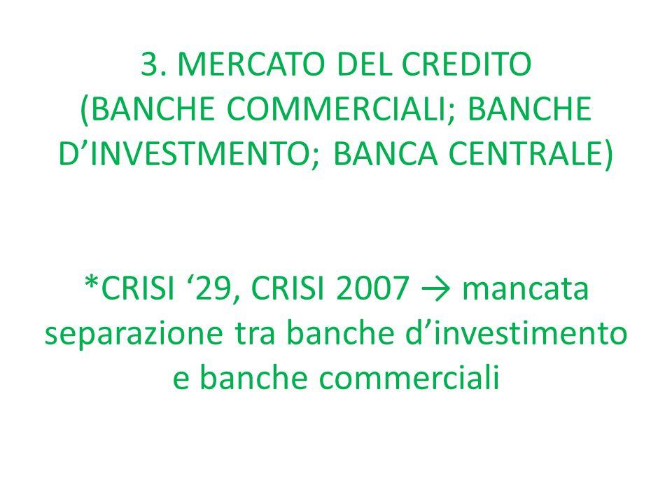 3. MERCATO DEL CREDITO (BANCHE COMMERCIALI; BANCHE D'INVESTMENTO; BANCA CENTRALE) *CRISI '29, CRISI 2007 → mancata separazione tra banche d'investimen