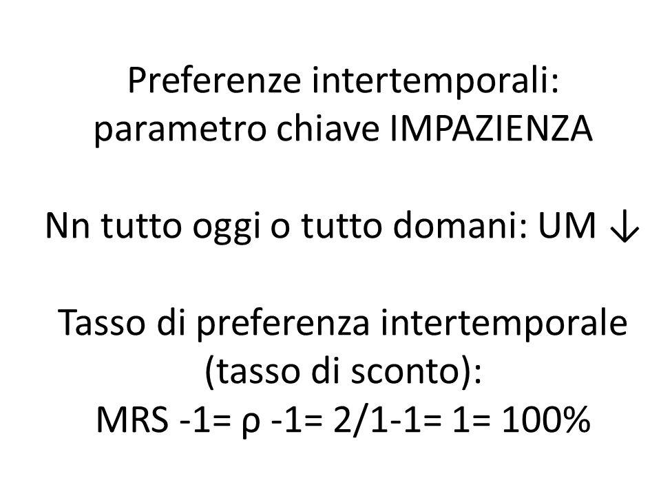 Preferenze intertemporali: parametro chiave IMPAZIENZA Nn tutto oggi o tutto domani: UM ↓ Tasso di preferenza intertemporale (tasso di sconto): MRS -1