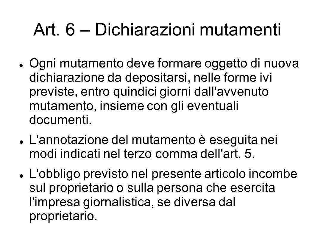 Art. 6 – Dichiarazioni mutamenti Ogni mutamento deve formare oggetto di nuova dichiarazione da depositarsi, nelle forme ivi previste, entro quindici g