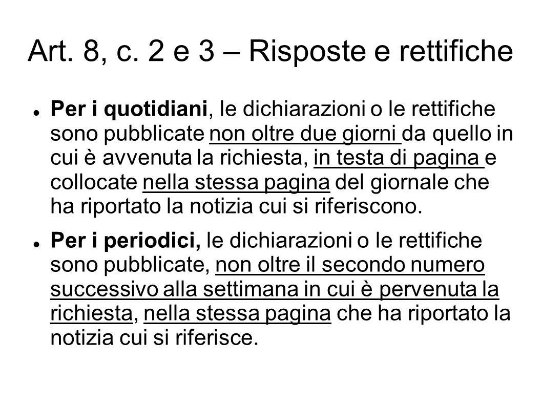 Art. 8, c. 2 e 3 – Risposte e rettifiche Per i quotidiani, le dichiarazioni o le rettifiche sono pubblicate non oltre due giorni da quello in cui è av