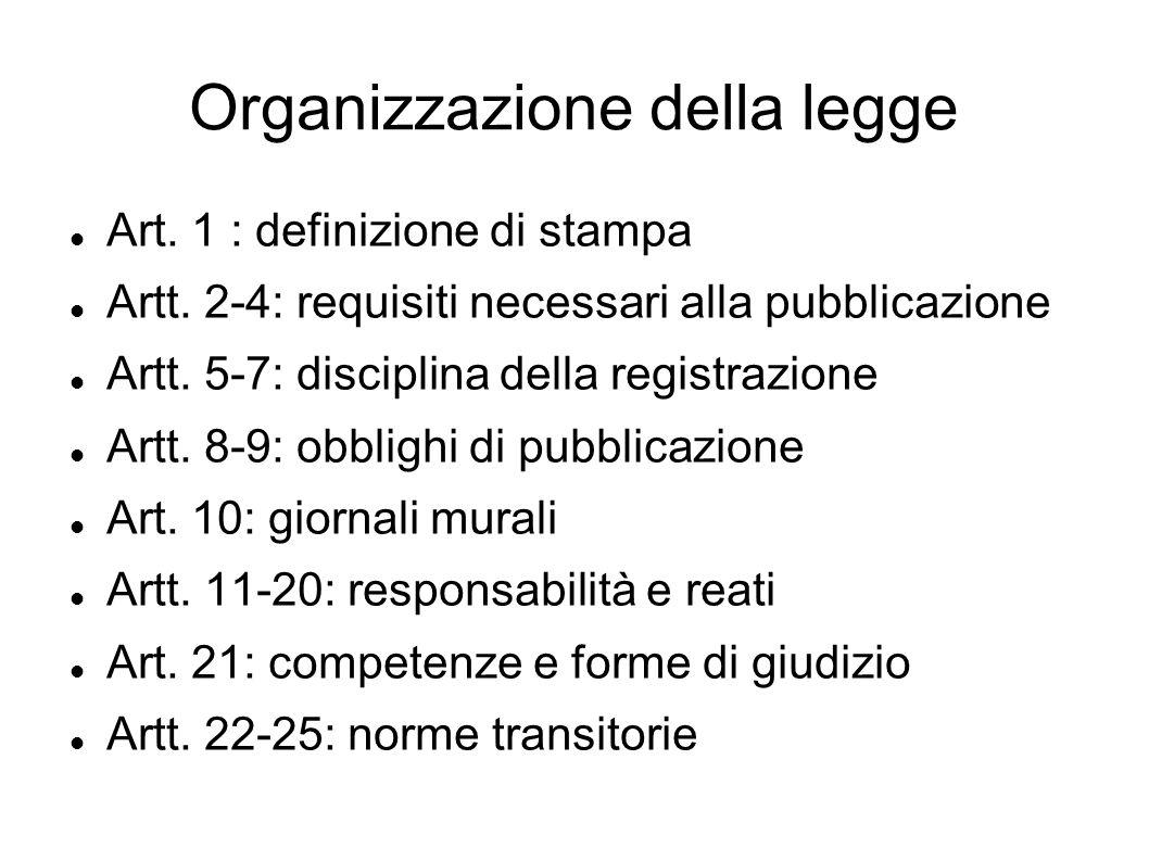 Organizzazione della legge Art. 1 : definizione di stampa Artt. 2-4: requisiti necessari alla pubblicazione Artt. 5-7: disciplina della registrazione