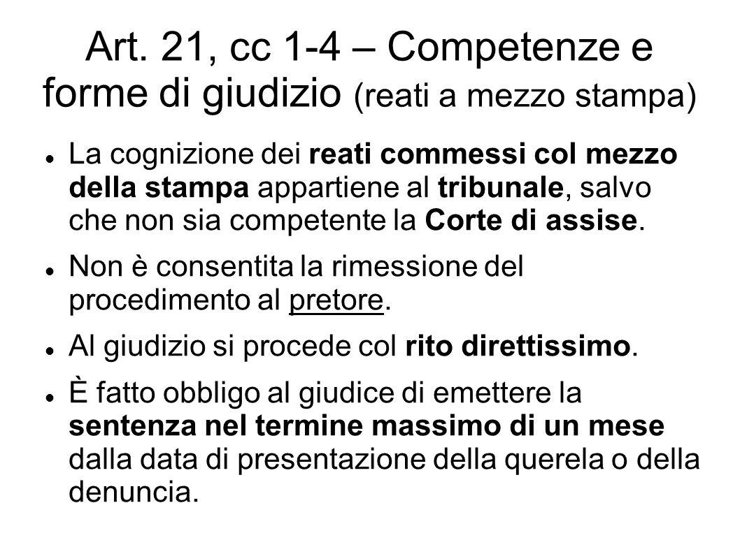 Art. 21, cc 1-4 – Competenze e forme di giudizio (reati a mezzo stampa) La cognizione dei reati commessi col mezzo della stampa appartiene al tribunal
