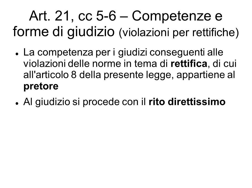 Art. 21, cc 5-6 – Competenze e forme di giudizio (violazioni per rettifiche) La competenza per i giudizi conseguenti alle violazioni delle norme in te