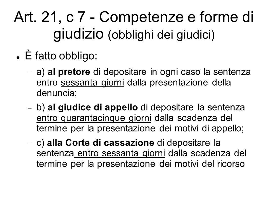 Art. 21, c 7 - Competenze e forme di giudizio (obblighi dei giudici) È fatto obbligo:  a) al pretore di depositare in ogni caso la sentenza entro ses