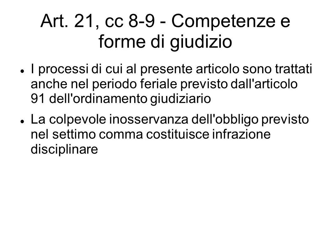 Art. 21, cc 8-9 - Competenze e forme di giudizio I processi di cui al presente articolo sono trattati anche nel periodo feriale previsto dall'articolo