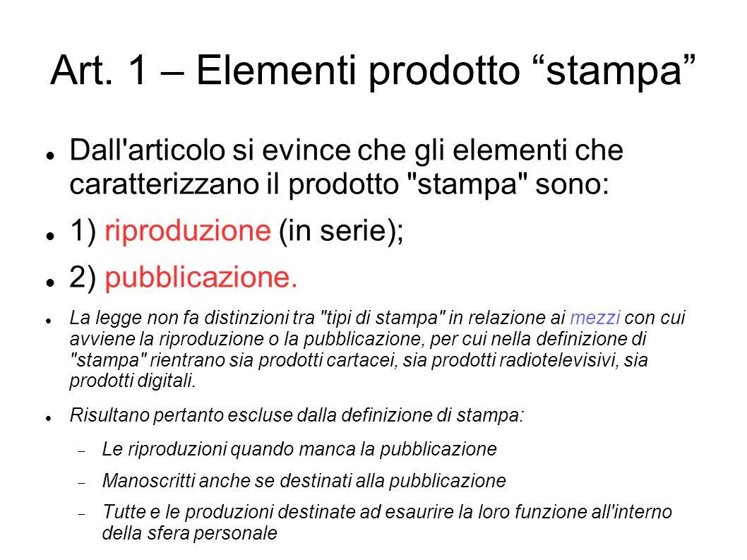 """Art. 1 – Elementi prodotto """"stampa"""" Dall'articolo si evince che gli elementi che caratterizzano il prodotto"""