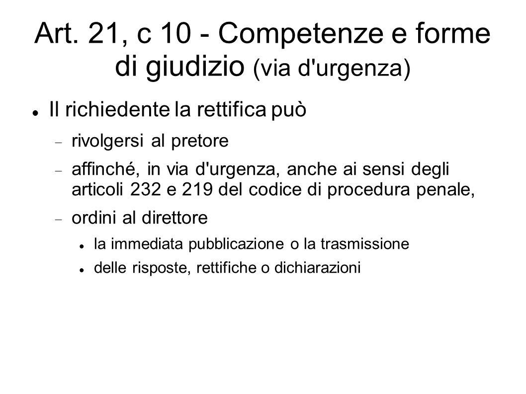 Art. 21, c 10 - Competenze e forme di giudizio (via d'urgenza) Il richiedente la rettifica può  rivolgersi al pretore  affinché, in via d'urgenza, a
