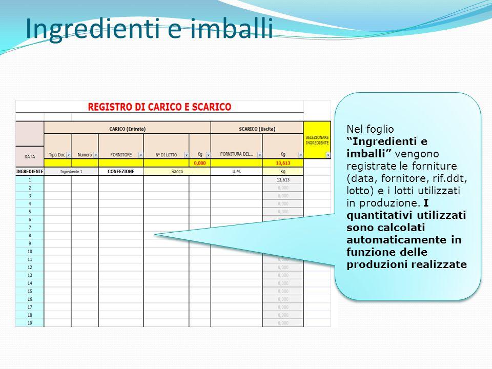 Ingredienti e imballi Nel foglio Ingredienti e imballi vengono registrate le forniture (data, fornitore, rif.ddt, lotto) e i lotti utilizzati in produzione.