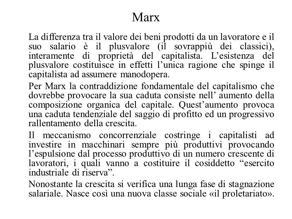 Marx La differenza tra il valore dei beni prodotti da un lavoratore e il suo salario è il plusvalore (il sovrappiù dei classici), interamente di propr