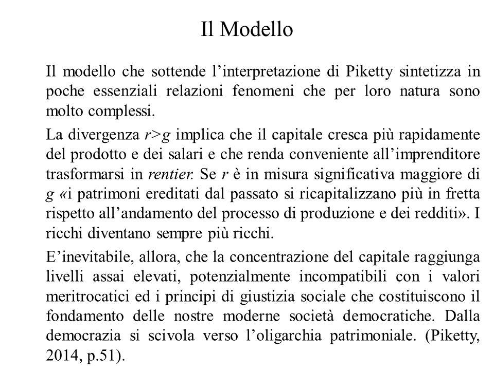 Il Modello Il modello che sottende l'interpretazione di Piketty sintetizza in poche essenziali relazioni fenomeni che per loro natura sono molto compl