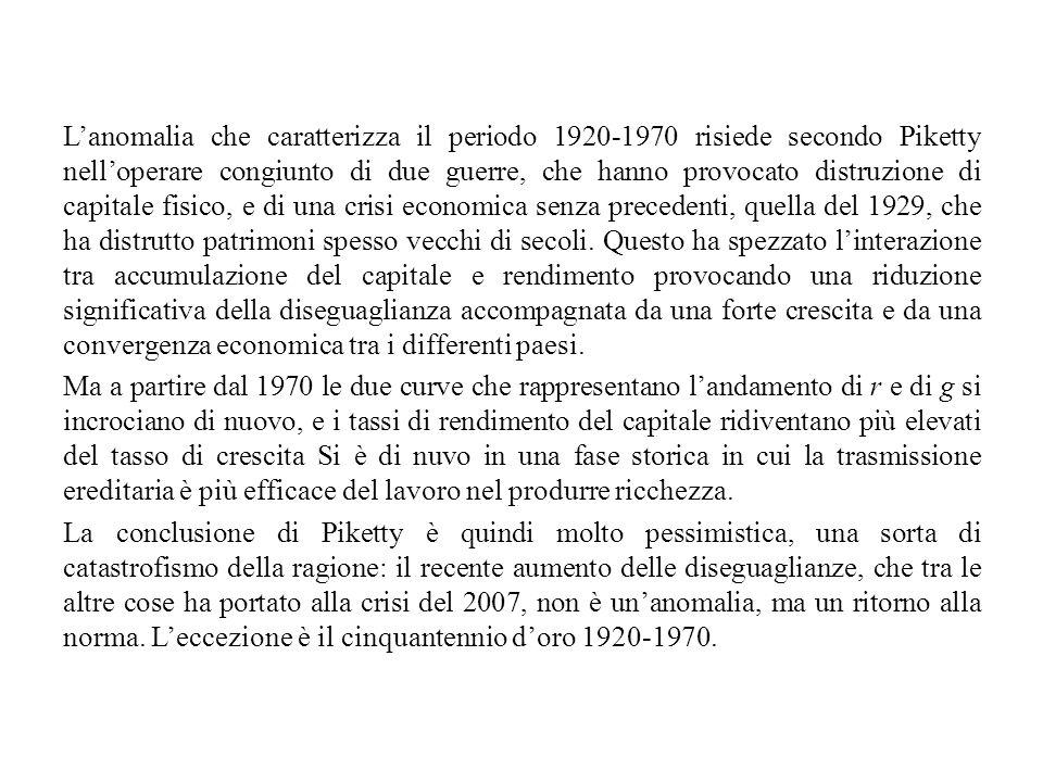 L'anomalia che caratterizza il periodo 1920-1970 risiede secondo Piketty nell'operare congiunto di due guerre, che hanno provocato distruzione di capi
