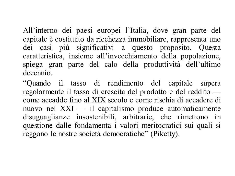 All'interno dei paesi europei l'Italia, dove gran parte del capitale è costituito da ricchezza immobiliare, rappresenta uno dei casi più significativi
