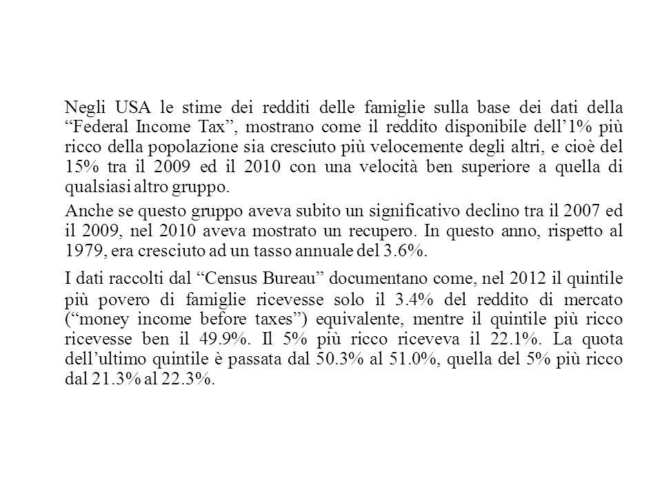 """Negli USA le stime dei redditi delle famiglie sulla base dei dati della """"Federal Income Tax"""", mostrano come il reddito disponibile dell'1% più ricco d"""