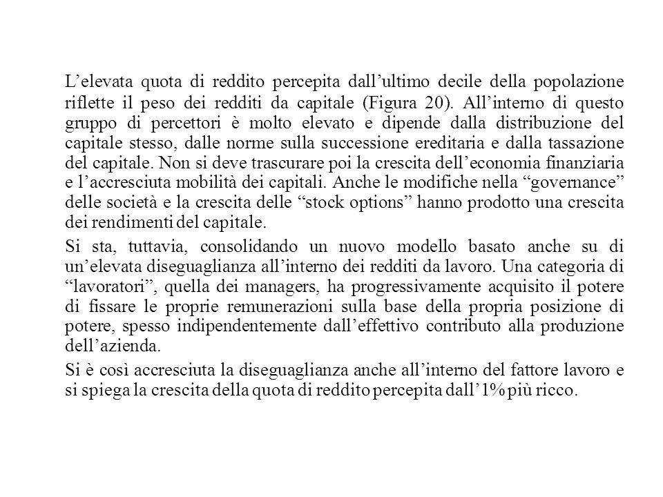 L'elevata quota di reddito percepita dall'ultimo decile della popolazione riflette il peso dei redditi da capitale (Figura 20). All'interno di questo