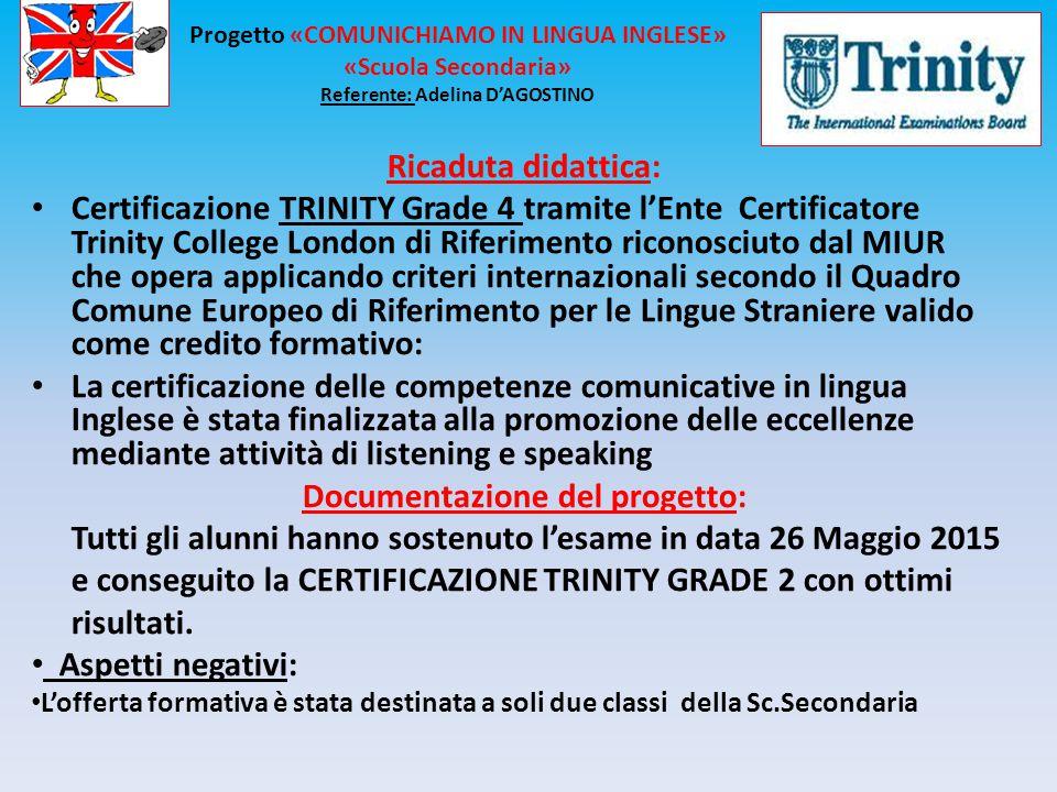Ricaduta didattica: Certificazione TRINITY Grade 4 tramite l'Ente Certificatore Trinity College London di Riferimento riconosciuto dal MIUR che opera