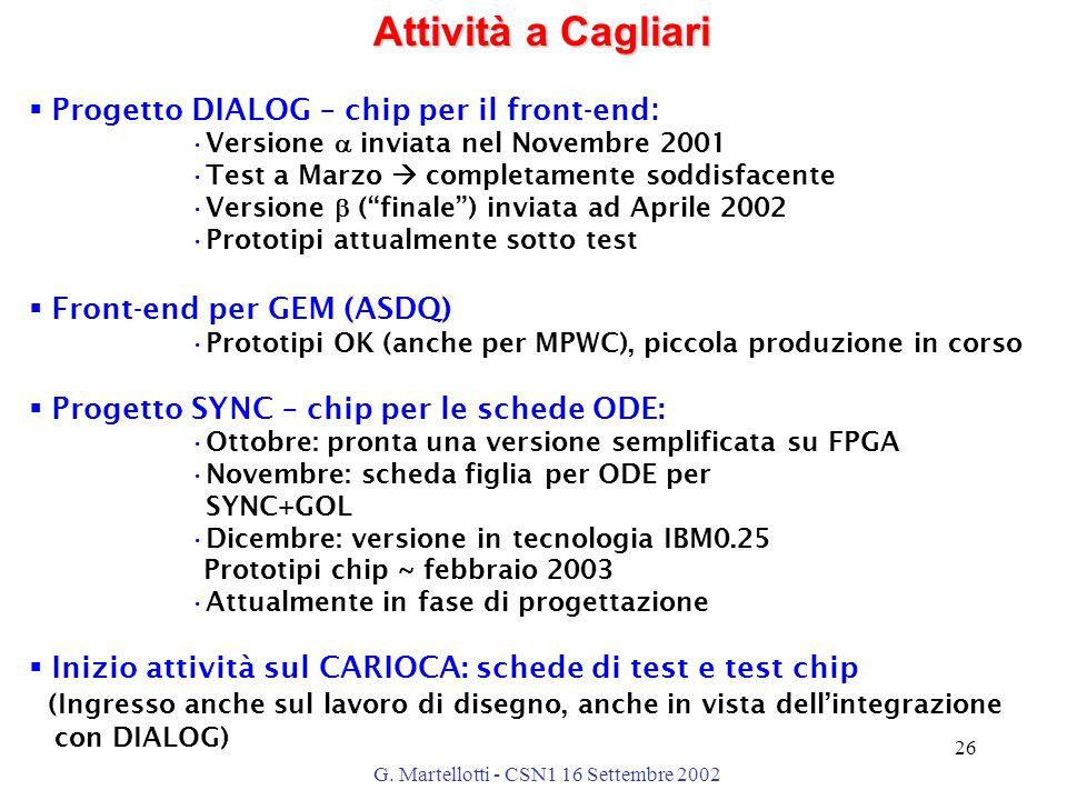 G. Martellotti - CSN1 16 Settembre 2002 26 Attività a Cagliari  Progetto DIALOG – chip per il front-end : Versione  inviata nel Novembre 2001 Test a