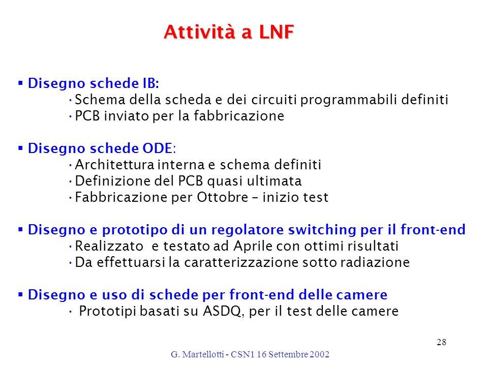 G. Martellotti - CSN1 16 Settembre 2002 28 Attività a LNF  Disegno schede IB: Schema della scheda e dei circuiti programmabili definiti PCB inviato p