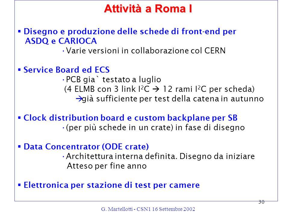 G. Martellotti - CSN1 16 Settembre 2002 30 Attività a Roma I  Disegno e produzione delle schede di front-end per ASDQ e CARIOCA Varie versioni in col