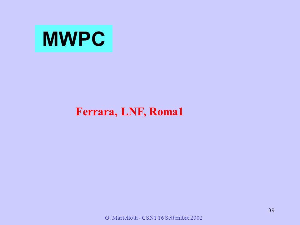 G. Martellotti - CSN1 16 Settembre 2002 39 MWPC Ferrara, LNF, Roma1