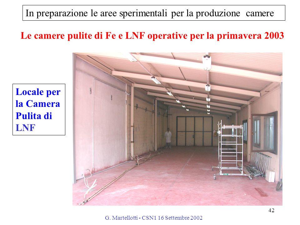 G. Martellotti - CSN1 16 Settembre 2002 42 In preparazione le aree sperimentali per la produzione camere Locale per la Camera Pulita di LNF Le camere