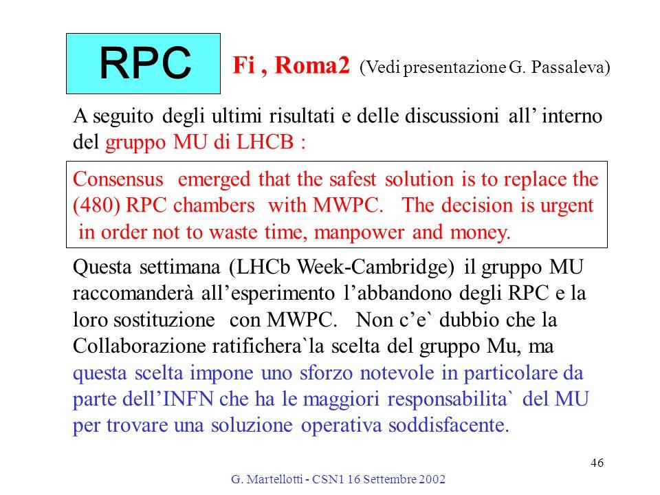 G. Martellotti - CSN1 16 Settembre 2002 46 A seguito degli ultimi risultati e delle discussioni all' interno del gruppo MU di LHCB : Questa settimana