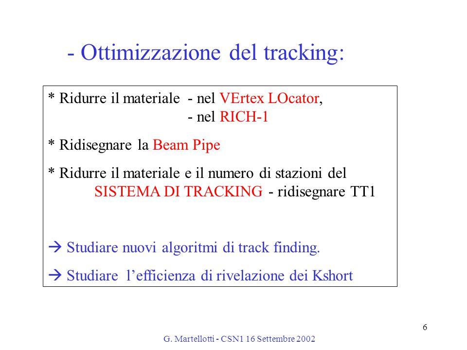 G. Martellotti - CSN1 16 Settembre 2002 6 * Ridurre il materiale - nel VErtex LOcator, - nel RICH-1 * Ridisegnare la Beam Pipe * Ridurre il materiale