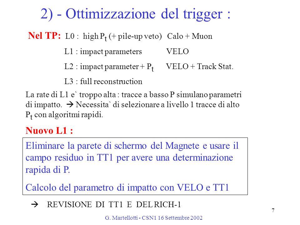 G. Martellotti - CSN1 16 Settembre 2002 7 2) - Ottimizzazione del trigger : Nel TP: L0 : high P t (+ pile-up veto) Calo + Muon L1 : impact parameters