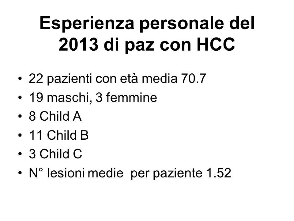 Esperienza personale del 2013 di paz con HCC 22 pazienti con età media 70.7 19 maschi, 3 femmine 8 Child A 11 Child B 3 Child C N° lesioni medie per p