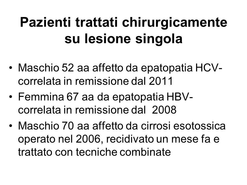Pazienti trattati chirurgicamente su lesione singola Maschio 52 aa affetto da epatopatia HCV- correlata in remissione dal 2011 Femmina 67 aa da epatop