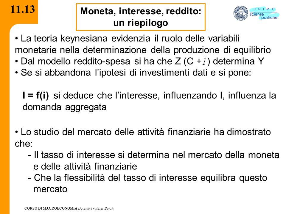 CORSO DI MACROECONOMIA Docente Prof.ssa Bevolo 11.13 Moneta, interesse, reddito: un riepilogo La teoria keynesiana evidenzia il ruolo delle variabili
