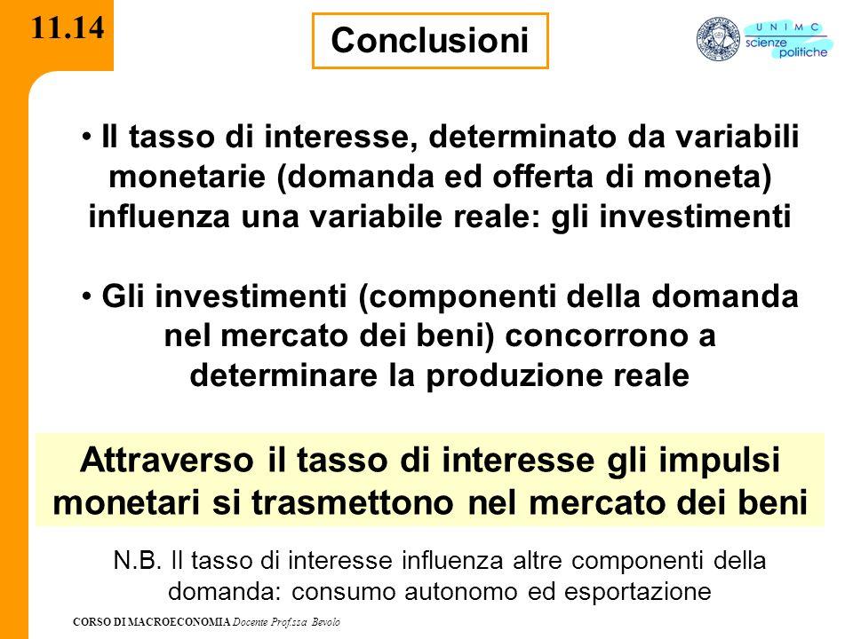 CORSO DI MACROECONOMIA Docente Prof.ssa Bevolo 11.14 Conclusioni Il tasso di interesse, determinato da variabili monetarie (domanda ed offerta di mone
