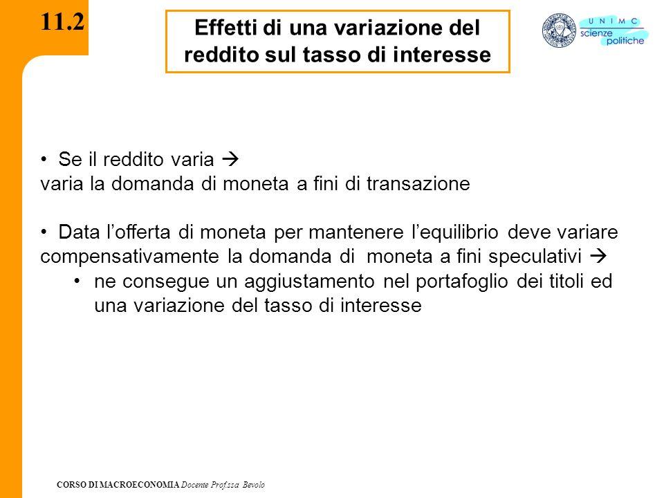 CORSO DI MACROECONOMIA Docente Prof.ssa Bevolo 11.2 Effetti di una variazione del reddito sul tasso di interesse Se il reddito varia  varia la domand