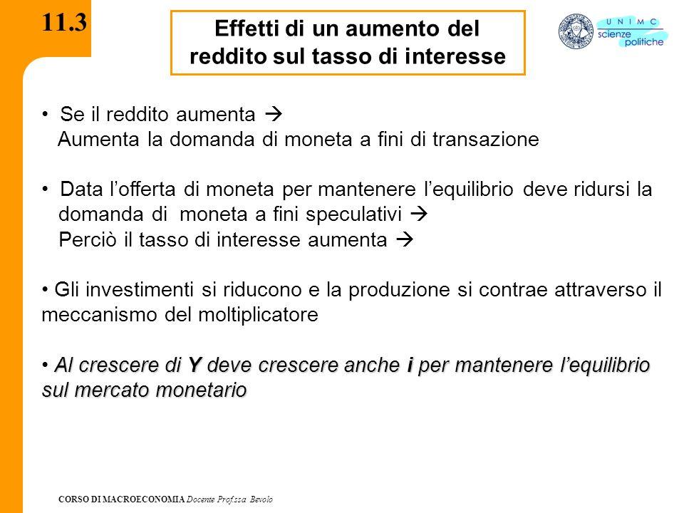CORSO DI MACROECONOMIA Docente Prof.ssa Bevolo 11.3 Effetti di un aumento del reddito sul tasso di interesse Se il reddito aumenta  Aumenta la domand