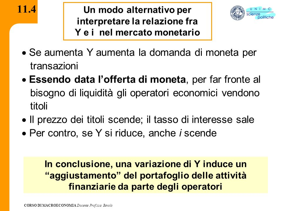 CORSO DI MACROECONOMIA Docente Prof.ssa Bevolo 11.4 Un modo alternativo per interpretare la relazione fra Y e i nel mercato monetario  Se aumenta Y