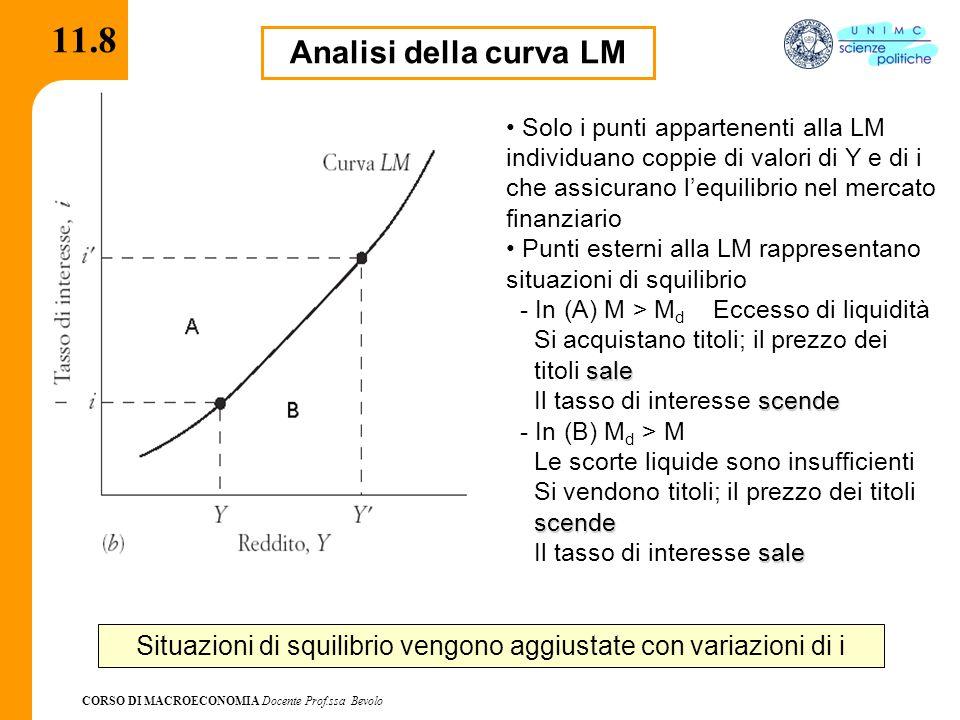 CORSO DI MACROECONOMIA Docente Prof.ssa Bevolo 11.8.1 L'equazione dell'equilibrio monetario può essere riscritta come: M/P = f 1 (Y)-f 2 (i) dove M/P è l'offerta di moneta in termini reali, f 1 misura la reattività della domanda di moneta al reddito, f 2 misura la reattività della domanda di moneta al tasso di interesse L'inclinazione della LM dipende dal valore dei parametri f 1 ed f 2 – Se f 1 è alto basta una piccola variazione di Y per indurre una crescita della domanda di moneta transattiva – Se f 2 è alto basta una piccola variazione di i per ridurre di molto la domanda di moneta speculativa – Se il rapporto f 2 /f 1 è alto la curva LM è piatta e viceversa Nella visione keynesiana la LM tendenzialmente è piatta L'inclinazione della LM
