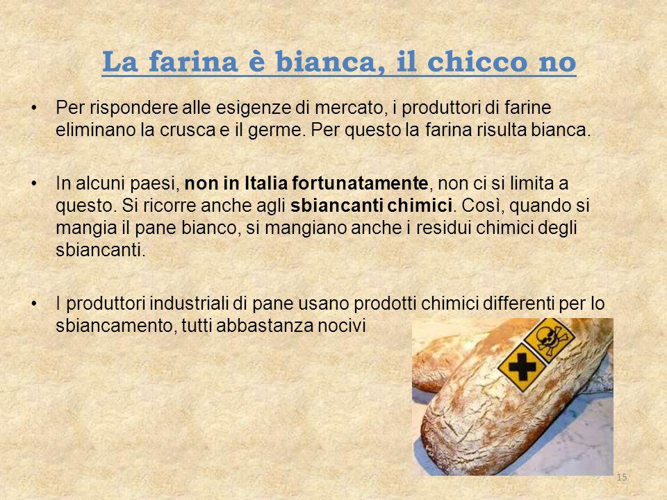 La farina è bianca, il chicco no Per rispondere alle esigenze di mercato, i produttori di farine eliminano la crusca e il germe. Per questo la farina