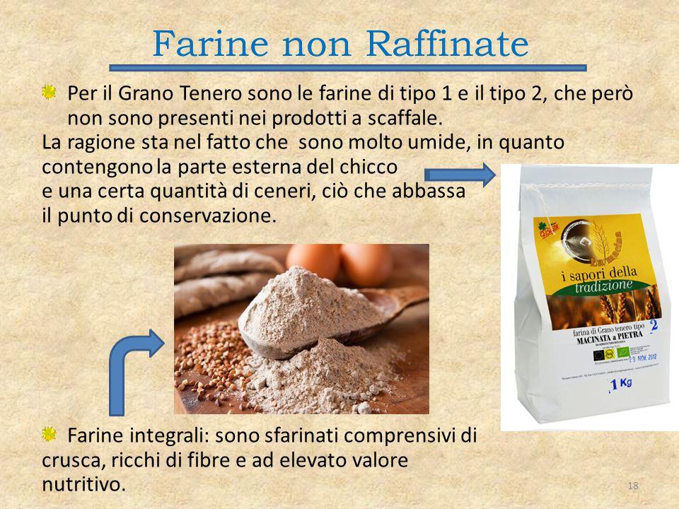Farine non Raffinate Per il Grano Tenero sono le farine di tipo 1 e il tipo 2, che però non sono presenti nei prodotti a scaffale. La ragione sta nel