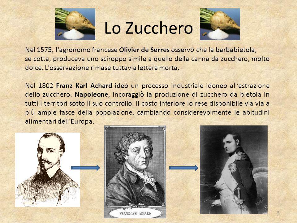 Lo Zucchero Nel 1575, l'agronomo francese Olivier de Serres osservò che la barbabietola, se cotta, produceva uno sciroppo simile a quello della canna
