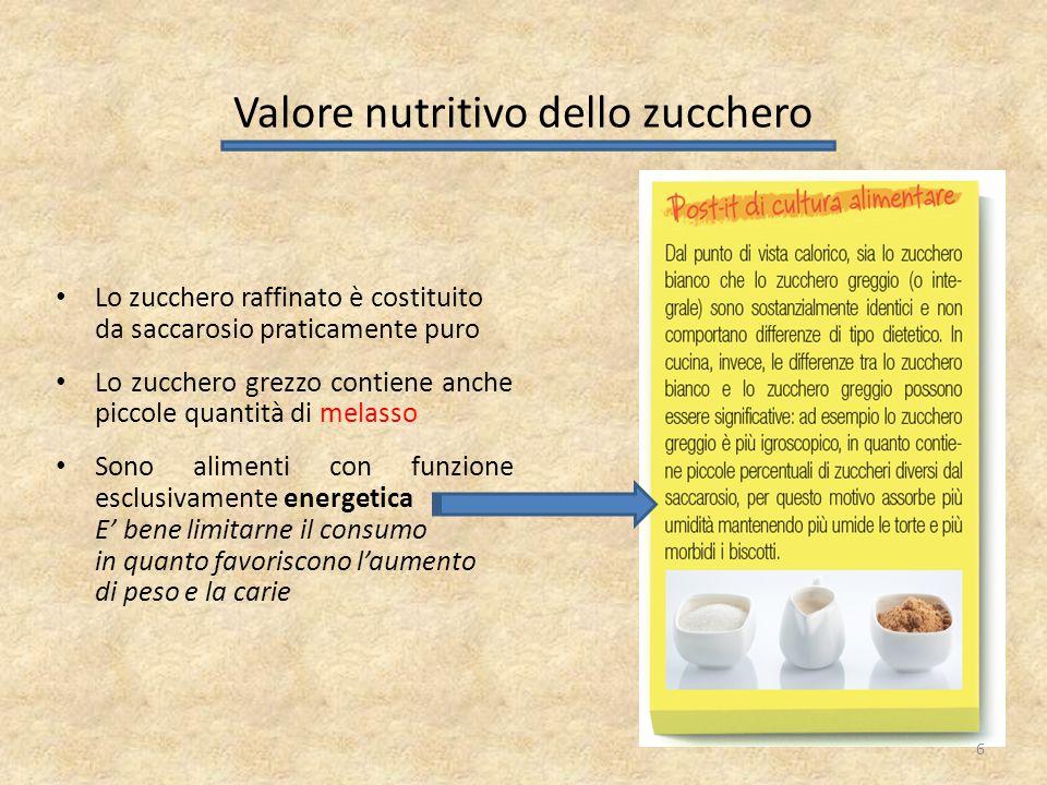 Lo zucchero raffinato è costituito da saccarosio praticamente puro Lo zucchero grezzo contiene anche piccole quantità di melasso Sono alimenti con fun