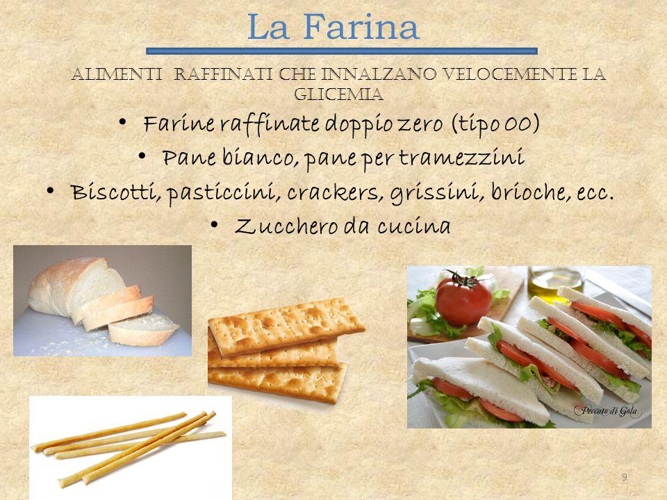La Farina Alimenti raffinati che innalzano velocemente la glicemia Farine raffinate doppio zero (tipo 00) Pane bianco, pane per tramezzini Biscotti, p
