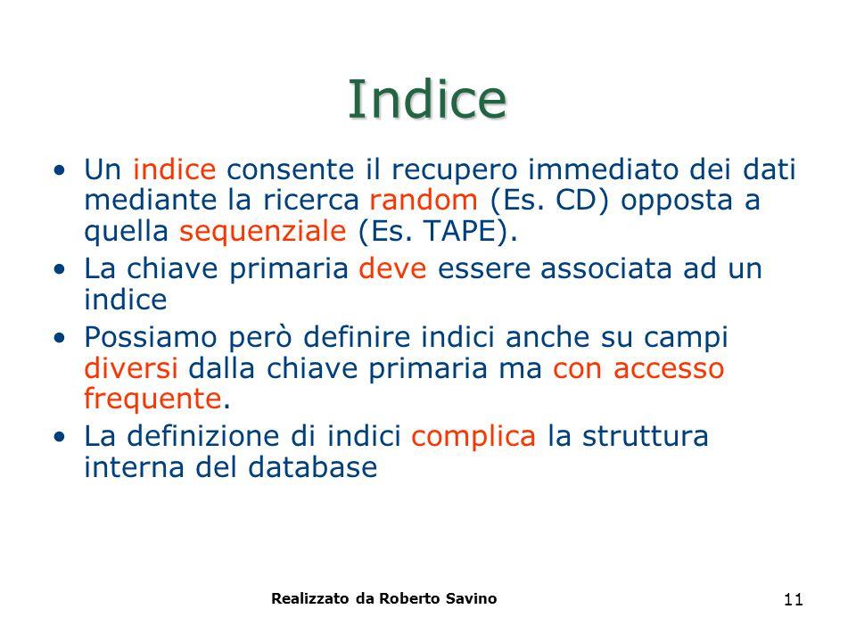 Realizzato da Roberto Savino 11 Indice Un indice consente il recupero immediato dei dati mediante la ricerca random (Es. CD) opposta a quella sequenzi