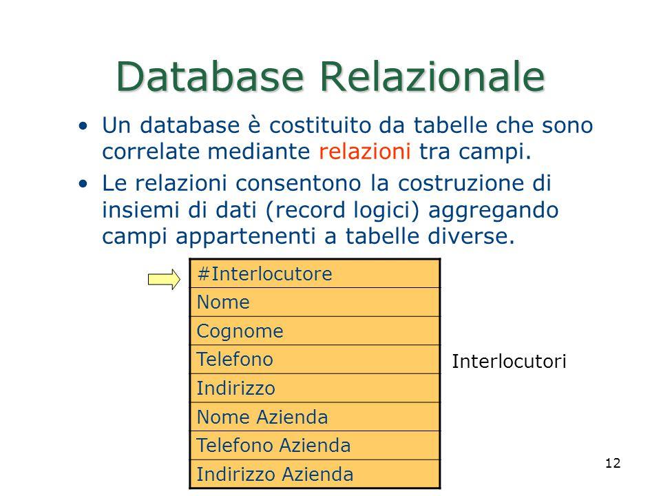 Realizzato da Roberto Savino 12 Database Relazionale Un database è costituito da tabelle che sono correlate mediante relazioni tra campi. Le relazioni