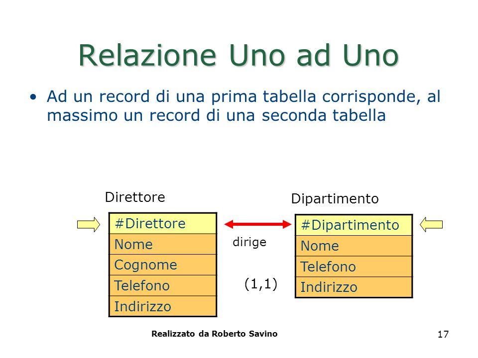 Realizzato da Roberto Savino 17 Relazione Uno ad Uno Ad un record di una prima tabella corrisponde, al massimo un record di una seconda tabella #Diret