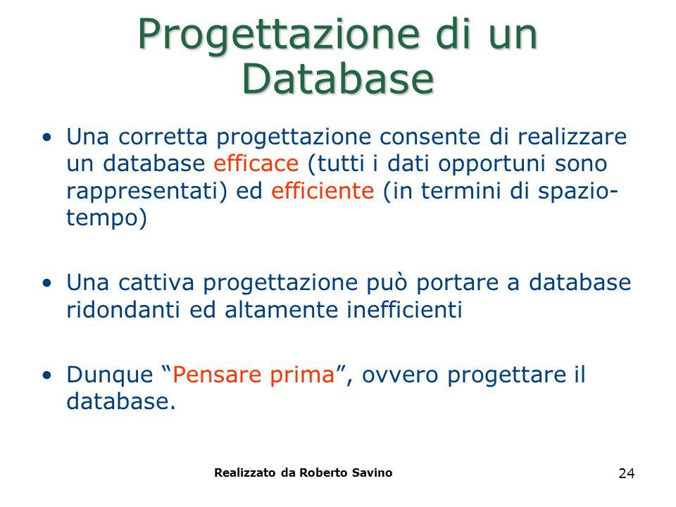 24 Progettazione di un Database Una corretta progettazione consente di realizzare un database efficace (tutti i dati opportuni sono rappresentati) ed