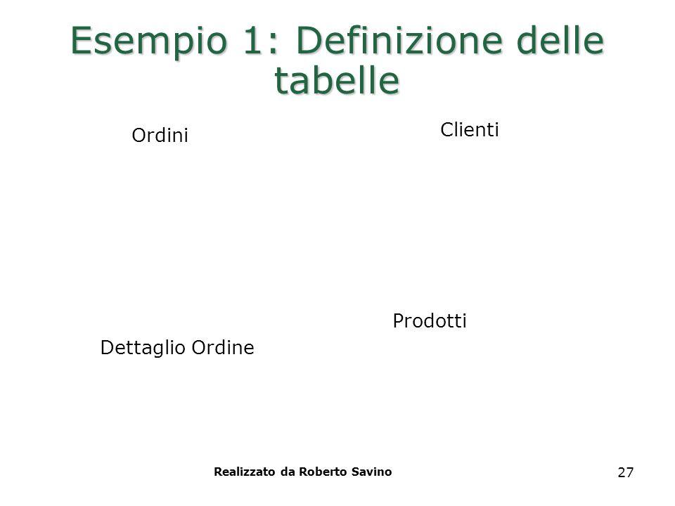 Realizzato da Roberto Savino 27 Esempio 1: Definizione delle tabelle Clienti Ordini Prodotti Dettaglio Ordine